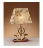 LAMPADA DA TAVOLO IN OTTONE LUCIDO CON PARALUME IN PERGAMENA SU BASE LEGNO Art.  2210C.LPR