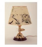 LAMPADA DA TAVOLO IN OTTONE LUCIDO CON PARALUME IN PERGAMENA SU BASE LEGNO Art.  2298.LP