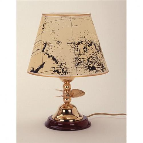 Lampada Da Tavolo In Ottone Lucido Con Paralume In Pergamena Su Base Legno Art 2298 Lp