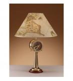 LAMPADA DA TAVOLO IN OTTONE LUCIDO CON PARALUME IN PERGAMENA SU BASE LEGNO Art.  2329.LP
