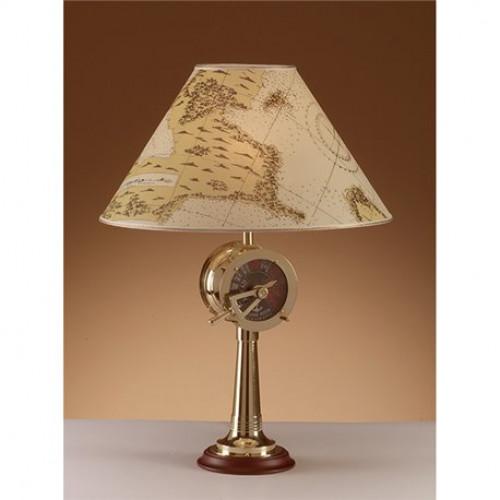 Lampada da tavolo in ottone lucido con paralume in pergamena su base legno art 2329 lp - Lampada da tavolo con pinza ...