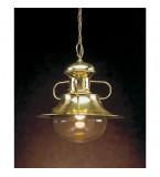 LAMPADA IN OTTONE  PORTO ROTONDO DIMENSIONI 440X400MM CON VETRO TRASPARENTE Art.  3000
