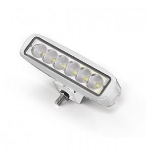 PROIETTORE SUPER LIGHT LED CON PRESA BIPOLARE E BASETTA AL PIANO IN ACCIAIO INOX  IP67 A 6 LED PER 3WATT 10-30 VOLT 1200LUMEN SIZE 45X160X50MM